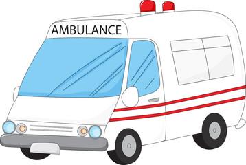 illustration of a white ambulance isolated on white