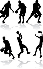 vector sport silhouettes of basketball player