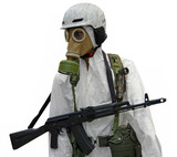 Dummy of the soldier with the weapons  in a gas mask poster
