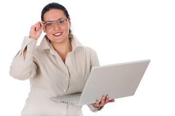 Lady posing with laptop on the white background