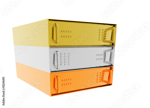 Gold Silver Bronze Server Rack Hosting boxes on White