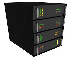Small Web Hosting Server Rack on white