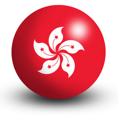 Hong Kong Flag orb Button Icon
