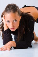 fashion girl leaned on the floor