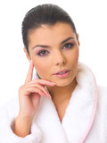 Portrait of 20-25 years old beautiful woman wearing bathrobe poster