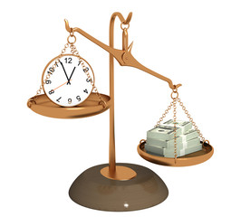 Concept - time is money. Objects over white
