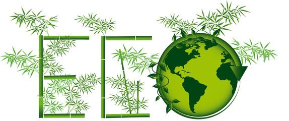 bamboo écologique et planète terre