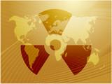 Illustration of radiation hazard warning alert symbol poster