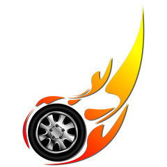Sport tyre on fire isolated over white background