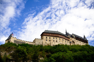 Medieval Karlstein castle on the hill. Czeck Republic