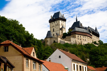 Karlstein castle and roofs of old town