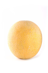 Ripe yellow melon with grid on a white background