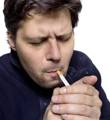 Men getting light a cigarette on white background