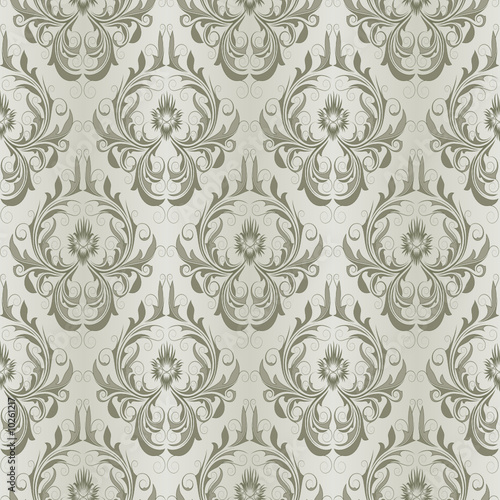 Seamless pattern from green flowers and leaves