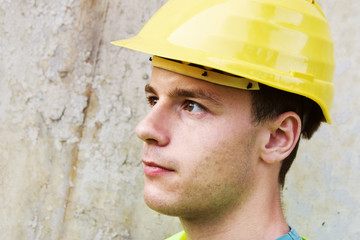 Head portrait of young construction worker