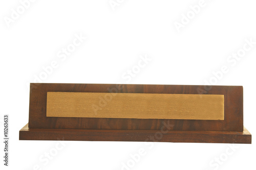 Isolated blank wooden  nameplate isolated on white background