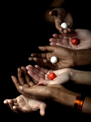 balck and white women hands over black background