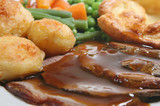 Sunday roast beef dinner with Yorkshire pudding poster