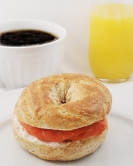 Breakfast with Bagel and Salmon
