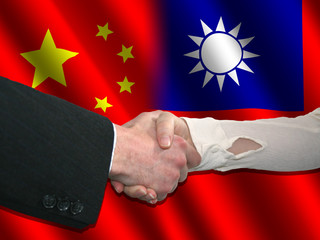 Handshake over Chinese and Taiwanese flags illustration
