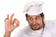 young funny chef with egg, isolated on white