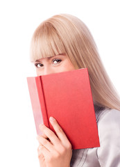 cheerful blond girl with a book