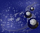 Blue Christmas tree ornament with white snowflakes and stardust poster