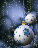 Christmas decorating bulbs with snowflakes and stardust poster