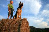 Boy with big dog on meadow