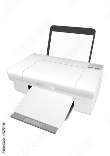 Illustration of a detailed printer isolated on white background