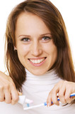 smiley woman with toothpaste and toothbrush over white poster