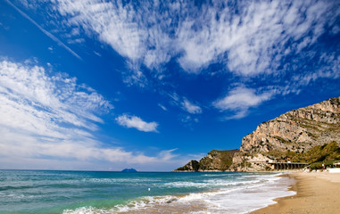 Stretches of sandy beach along the coast by Gaeta, Italy