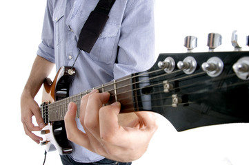 young guy playing melody with white background