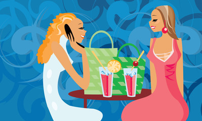 vector image of two talking women in cafe