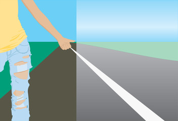 vector image of hitchhiker's sign