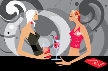 vector image of two talking women in bar