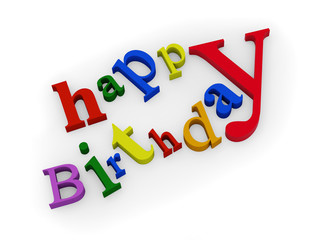 happy birthday text isolated on white background