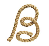 old natural fiber rope bent in the form of letter B