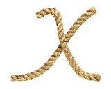 old natural fiber rope bent in the form of letter X