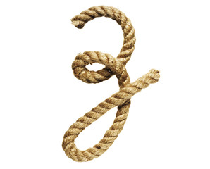 old natural fiber rope bent in the form of letter Z