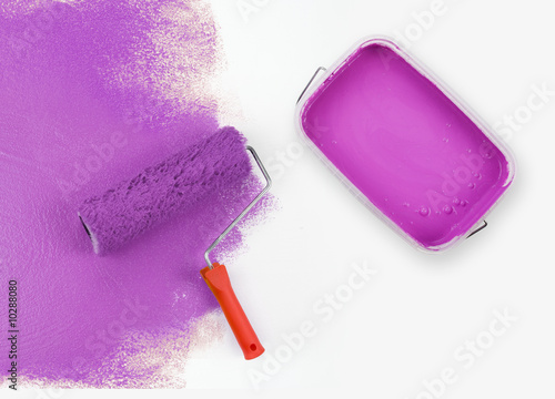 Magenta paint roller with paint can