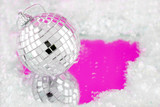 disco ball decoration with reflection surrounded by fake snow poster