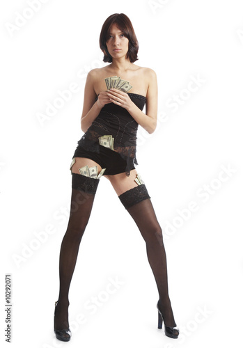 The girl undresses for money  on a white background