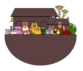 Noah's Ark Cartoon - Isolated on white
