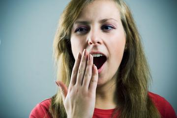 Yawning girl.
