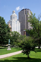 The Hartford Connecticut city skyline from Bushnell Park.