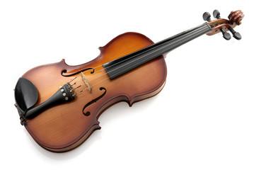 Studio shot of a violin on white translucent background