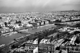 Black and white beautiful view of Paris from The Eiffel Tower