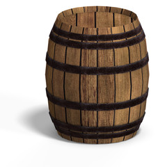 rendering of a wooden barel With Clipping Path over white