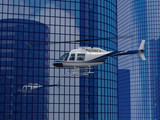 helicopter flight on a skyscraper background